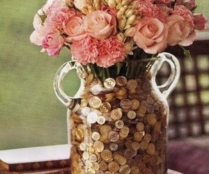 flowers, buttons, and pink image