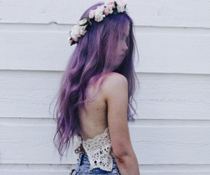 clothes, flower crown, and violet hair image