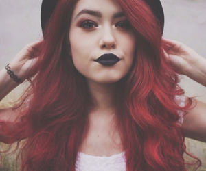 black lips, girl, and hairstyle image