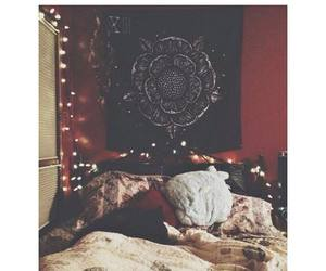bed, hippy, and pillows image