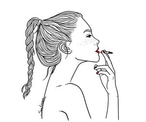 girl, draw, and smoke image