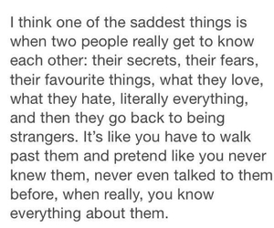 sad, strangers, and quote image