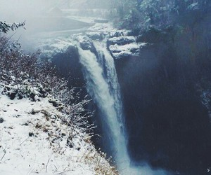 snow, waterfall, and winter image