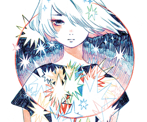 beautiful, girl, and stars image