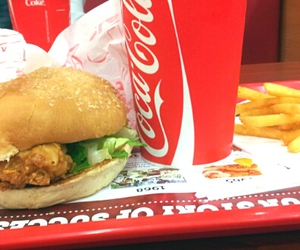 Chicken, cola, and food image