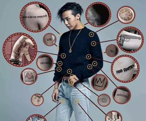 gd, g-dragon, and tattoo image