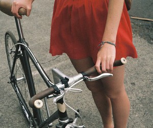 girl, bike, and red image