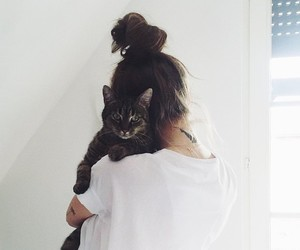 cat, girl, and white image