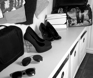 bags, black&white, and girly image