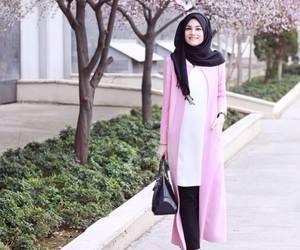 black, handbag, and hijab image