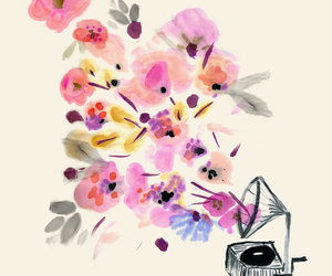 flowers, phonograph, and watercolor image
