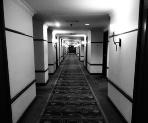 black, lonely, and corridor image