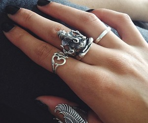 black, jewelry, and nails image