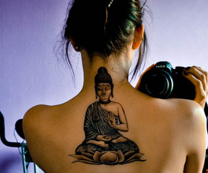 black, girl, and Buddha image