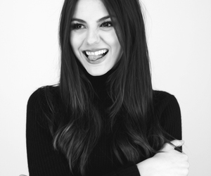 victoria justice and black and white image
