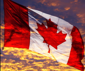 canada, flag, and sunset image