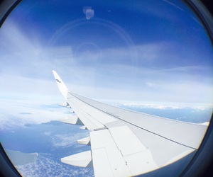 airplane, artsy, and blue image