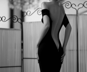 dress, sexy, and black and white image