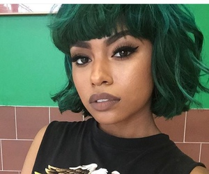 hair, green, and makeup image