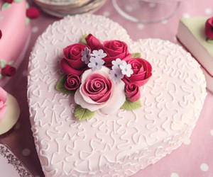 cake, sweet, and flowers image