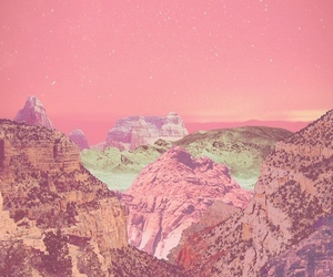 wallpaper, pink, and mountains image