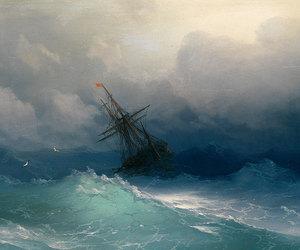blue, ship, and sea image