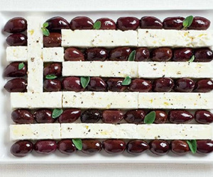 flag, Greece, and typical food image