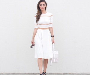 all white, bucket bag, and cropped top image