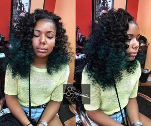curly hair, green hair, and dyed hair image