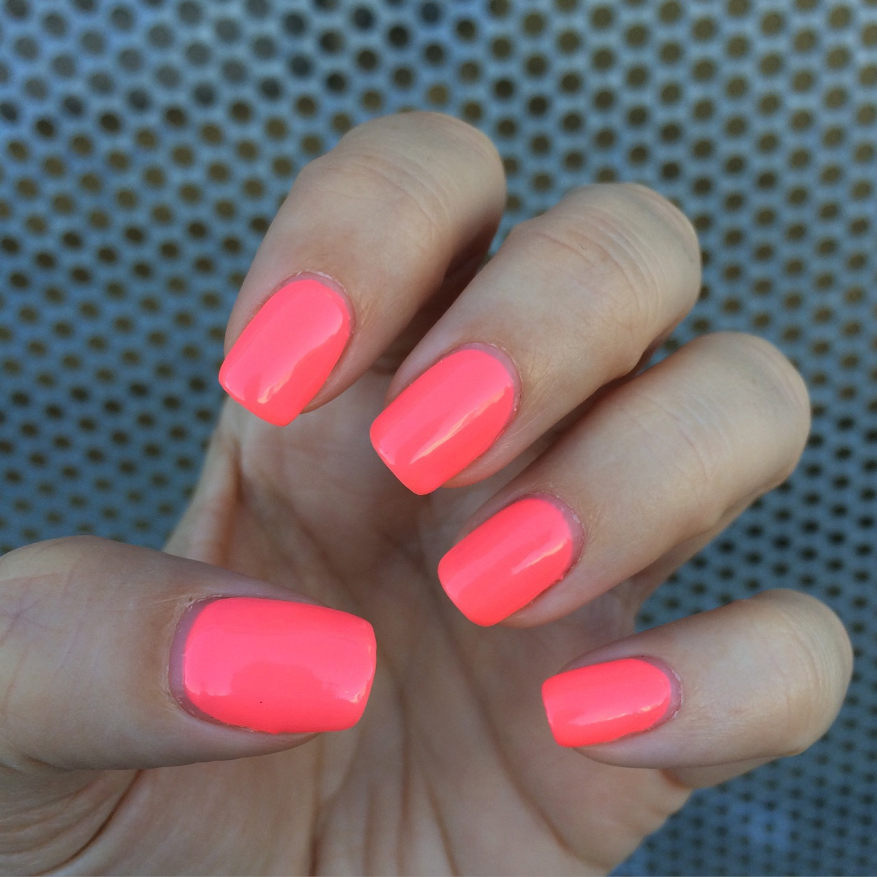 Neon coral is always a good choice 💅🏻 Polish by @gelish_official ...