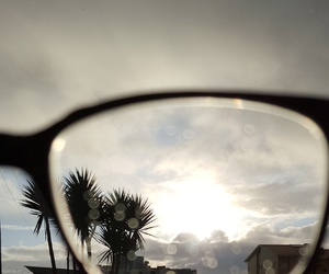 clouds, glasses, and sun image