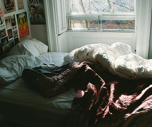 bed, bedroom, and indie image