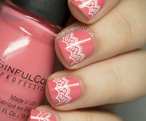 nails, lace, and pink image