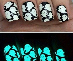 nails, ghost, and nail art image