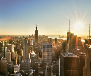 new york, city, and sun image