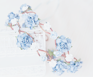 blue, flowers, and kfashion image