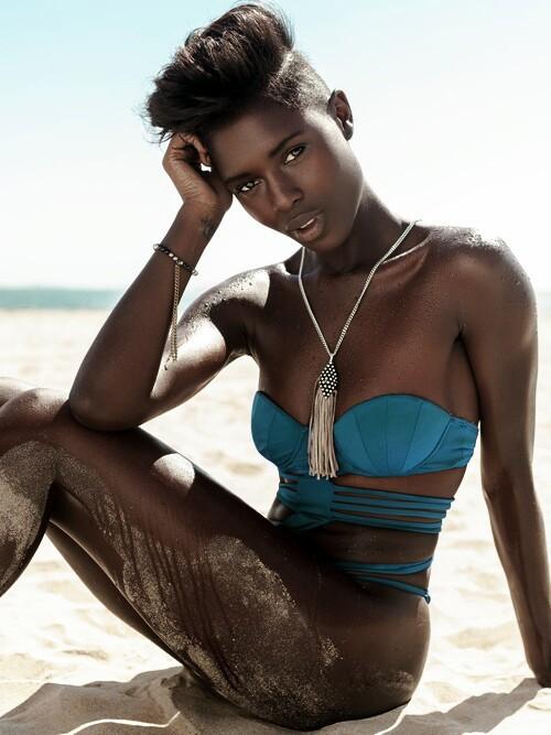beautiful black woman wearing swimsuit