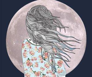 moon, girl, and hair image