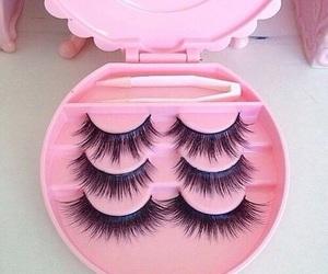 pink, eyelashes, and makeup image