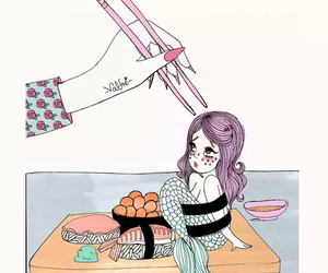 mermaid, sushi, and valfre image