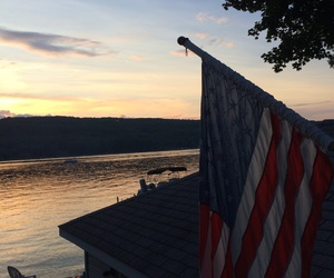 america, evening, and flag image