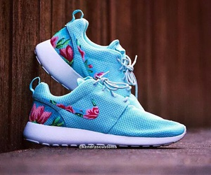 blue, flower, and nike image