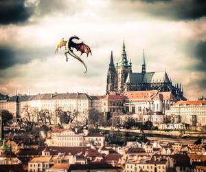dragon, fantasy, and city image