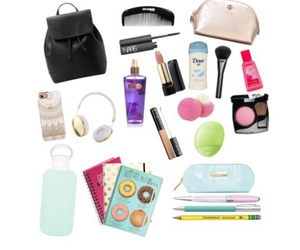 bag, what's in my school bag, and beauty image