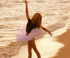 beach, girl, and ballet image