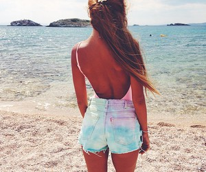 beach, pink, and cute outfit image