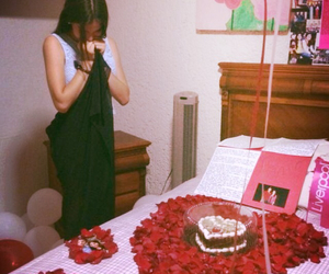 bed, gift, and cake image