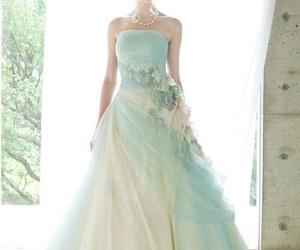 dress, nails, and wedding dress image