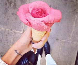 food, pink, and ice cream image
