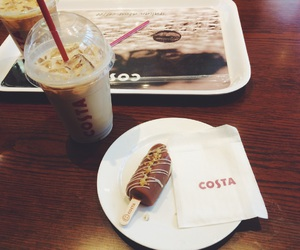 coffee, costa, and dessert image